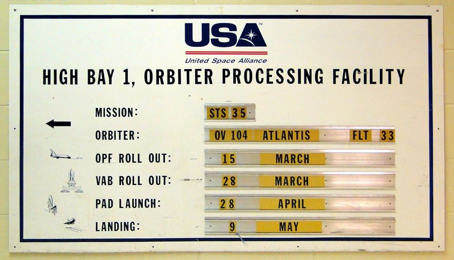 Schedule board the the Orbiter Processing Facility